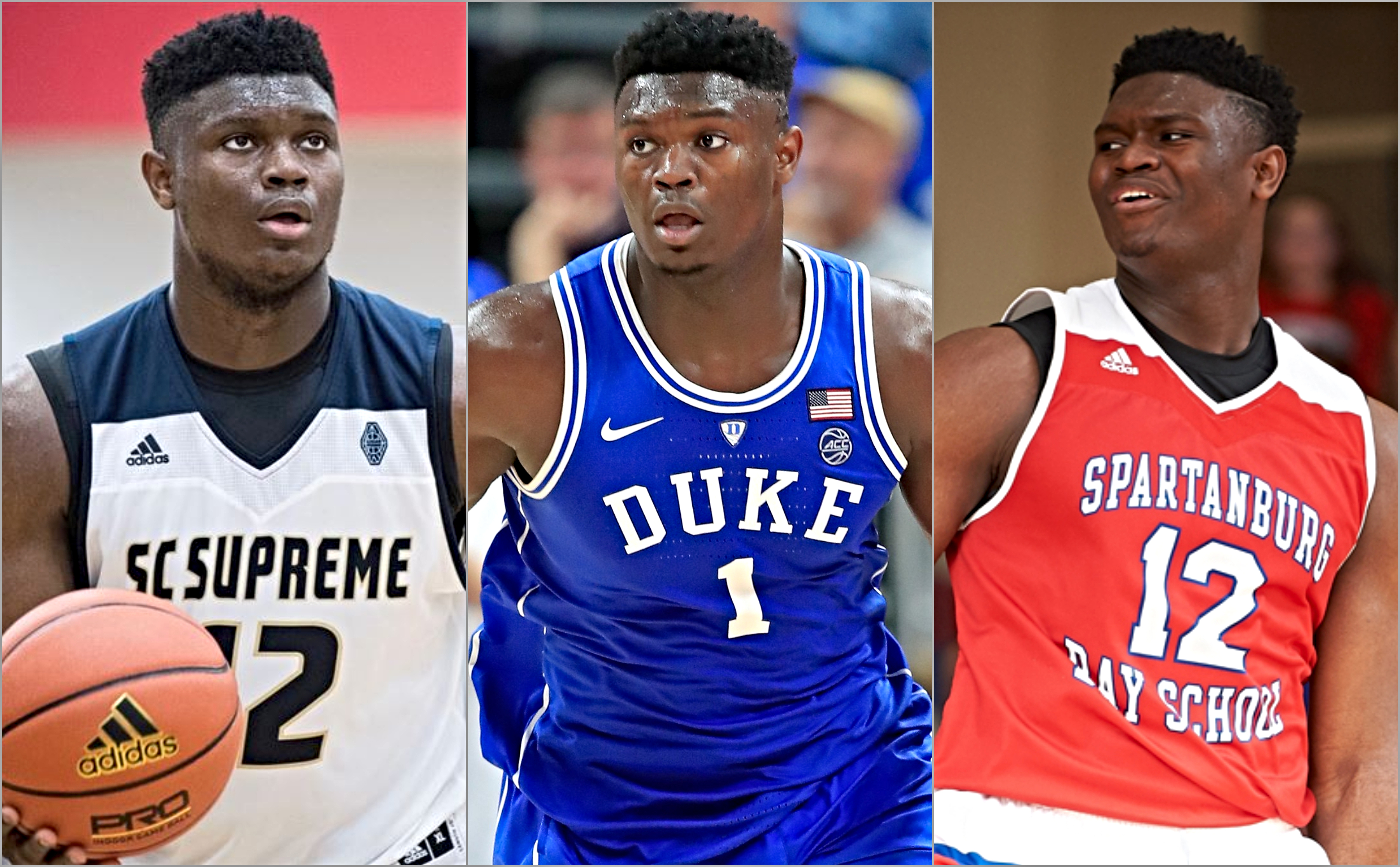 Zion Williamson in his AAU team, Duke Blue Devil and Spartanburg Day high school jerseys